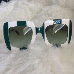 HP Dolce&Gabbana White green stripe sunglasses
